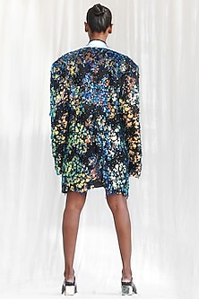 Blue & Iridescent Blue Embroidered Jacket by BLONI