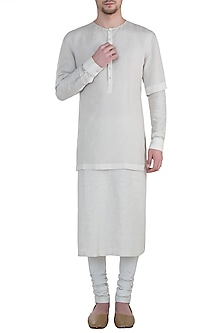 Ivory kurta with churidar by BLONI