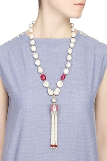 Baroque pearls and ruby semi-precious stones tulip string necklace  by Blue Lotus By Ritu Kapur