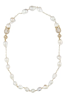 Baroque pearls and swarovski crystals two tulip string necklace by Blue Lotus By Ritu Kapur