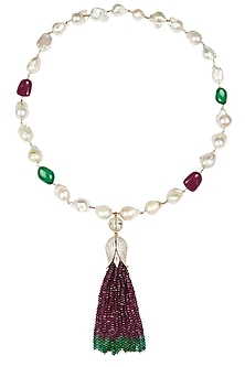 Baroque pearls and semi-precious stones tulip string necklace by Blue Lotus By Ritu Kapur