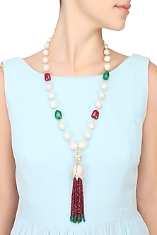 Baroque pearls and semi-precious stones tulip string necklace by Blue Lotus By Ritu Kapur