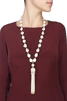 Baroque pearls with tulip and fresh water pearl tassles string necklace by Blue Lotus By Ritu Kapur