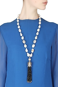 Baroque pearls and black semi-precious stones tulip string necklace by Blue Lotus By Ritu Kapur