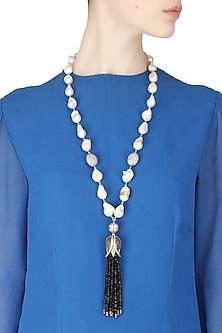 Baroque pearls and black semi-precious stones tulip string necklace by Blue Lotus By Ritu Kapur