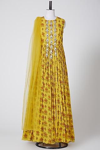 Yellow Printed Anarkali With Dupatta by Bhumika Sharma