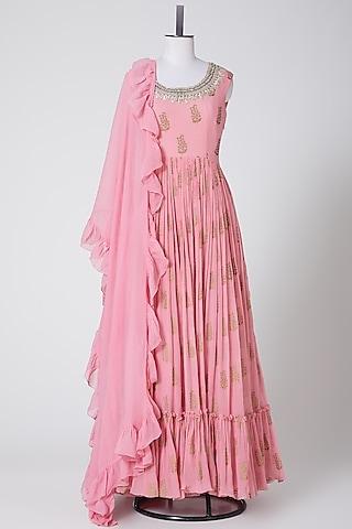 Candy Pink Embellished Anarkali With Dupatta by Bhumika Sharma
