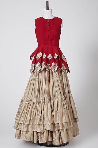 Beige Layered & Pleated Skirt by Bhumika Sharma