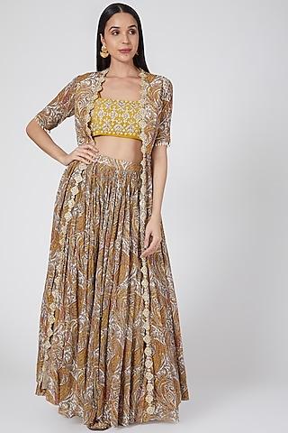 Yellow & Brown Embroidered Skirt Set by Bhumika Sharma