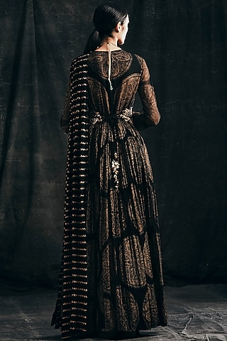 Black Printed Anarkali With Dupatta by Bhumika Sharma