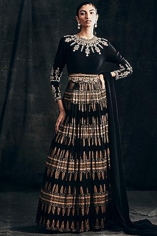 Black Printed Anarkali Set With Two Belts by Bhumika Sharma