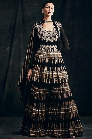 Black Printed Anarkali Set With Belt by Bhumika Sharma