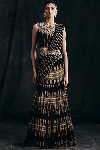 Black Printed Pre-Stitched Saree Set by Bhumika Sharma