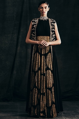 Black Embroidered & Printed Anarkali Set by Bhumika Sharma