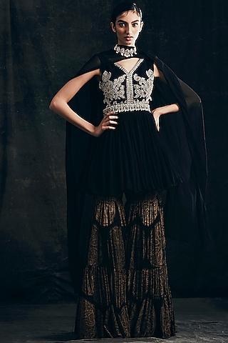 Black Embroidered Sharara Set by Bhumika Sharma