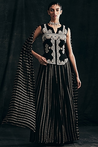 Black Embroidered Gown With Attached Dupatta by Bhumika Sharma