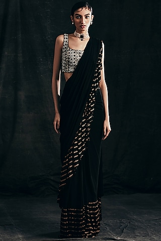 Black Embroidered Pre-Stitched Saree Set by Bhumika Sharma