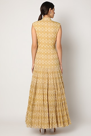 Mustard Printed Ruffled Gown With Belt by Bhumika Sharma