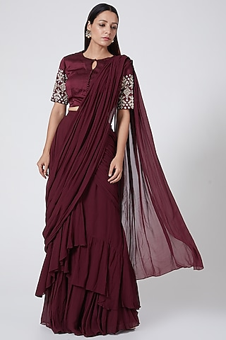 Wine Pre-Stitched Saree With Embroidered Blouse by Bhumika Sharma