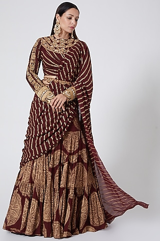 Maroon & Golden Embroidered Pre-Stitched Saree Set by Bhumika Sharma