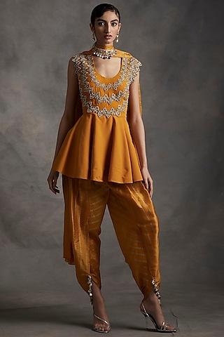 Haldi Yellow Embroidered Kurta Set by Bhumika Sharma