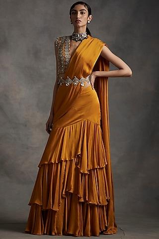 Haldi Yellow Embroidered Pre-Stitched Saree Set by Bhumika Sharma