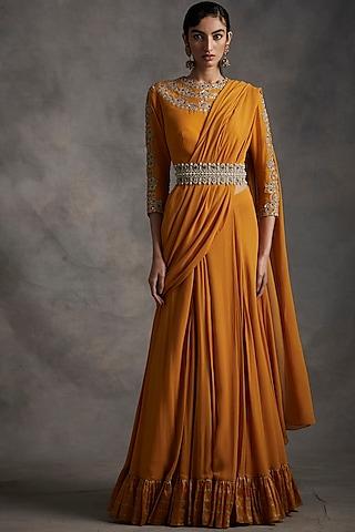 Haldi Yellow Embroidered & Pleated Pre-Stitched Saree Set by Bhumika Sharma