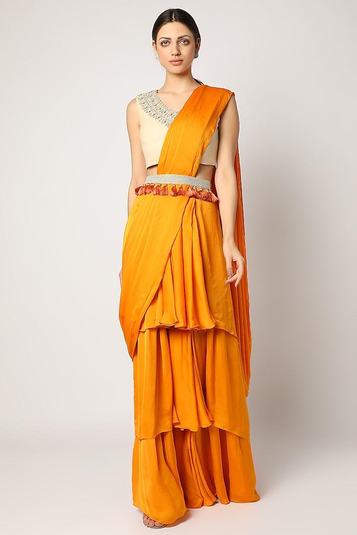 Orange Pre-Stitched Layered Saree Set by Bhumika Sharma