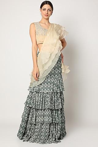 Blue Printed Pre-Stitched Layered Saree Set by Bhumika Sharma