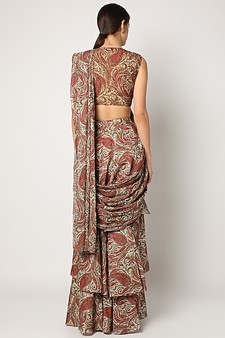 Red & Grey Pre-Stitched Layered Saree Set by Bhumika Sharma