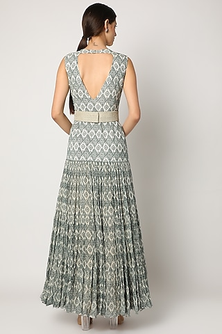 Mint Blue Printed Ruffled Gown by Bhumika Sharma