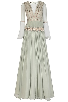 Sage Green Embroidered Anarkali Gown With Ruffled Dupatta by Bhumika Sharma