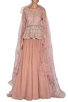 Nude & Powder Peach Hand Embroidered Lehenga Set by Bhumika Sharma