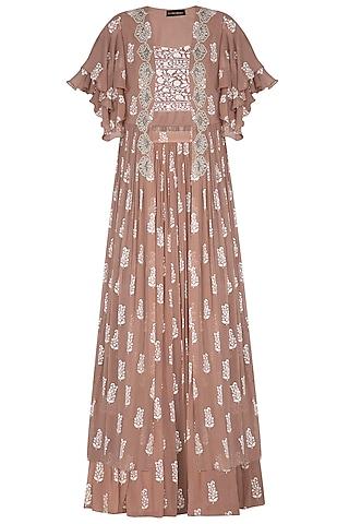 Beige Printed Embroidered Cape With Bustier & Skirt by Bhumika Sharma