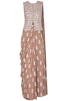 Beige Printed & Embroidered Pre-Stitched Saree Set by Bhumika Sharma