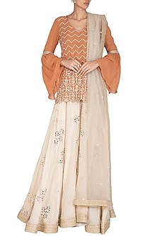 Orange & Ivory Embroidered Sharara Set by Bhumika Sharma