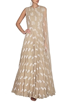 Light Beige Printed Anarkali With Attached Embroidered Cape by Bhumika Sharma