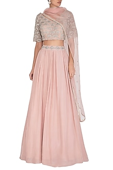 Nude & Pink Hand Embroidered Lehenga Set by Bhumika Sharma