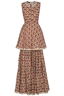 Maroon Printed Embroidered Peplum Kurta With Gharara by Bhumika Sharma