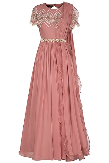 Pink Embroidered Anarkali With Dupatta & Belt by Bhumika Sharma