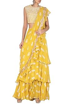 Yellow Printed Embellished Saree Set by Bhumika Sharma