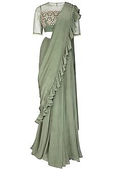 Sage Green Embroidered Saree Set by Bhumika Sharma