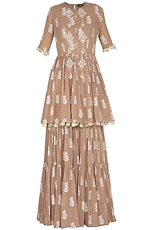 Beige Printed Embroidered Gharara Set by Bhumika Sharma