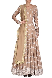 Beige Printed Embroidered Anarkali With Dupatta by Bhumika Sharma