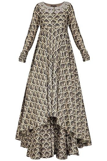 Blue Embroidered Printed Asymmetrical Kurta With Pants by Bhumika Sharma