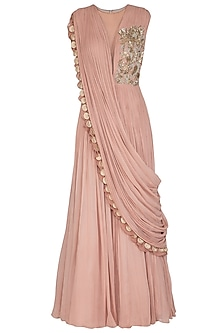 Pink Embroidered Pleated Gown by Bhumika Sharma