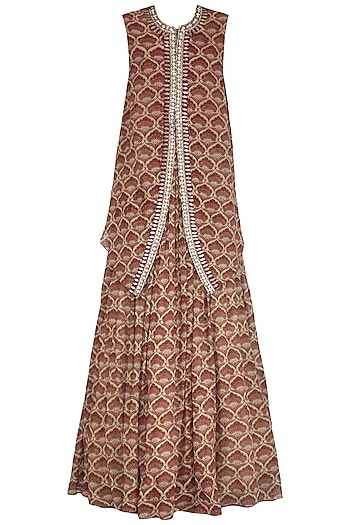 Maroon Embroidered Printed Cape With Skirt by Bhumika Sharma