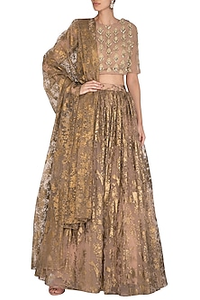 Nude Embroidered Lehenga Set by Bhumika Sharma