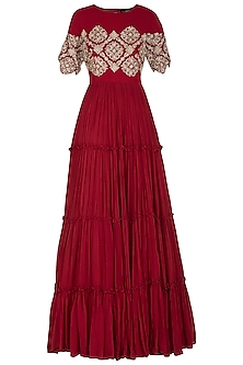 Red Embroidered Anarkali With Dupatta by Bhumika Sharma