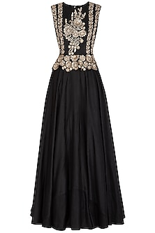 Black Embroidered Peplum Gown by Bhumika Sharma